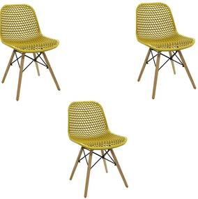 Kit 3 Cadeiras Decorativas Sala e Cozinha Haney (PP) Amarela Ocre - Gran Belo