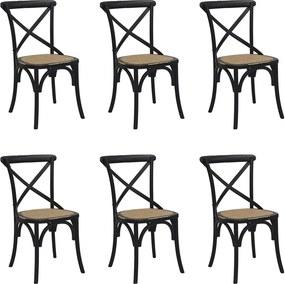 Kit 6 Cadeiras Decorativas Sala De Jantar Cozinha Danna Rattan Natural Preta - Gran Belo