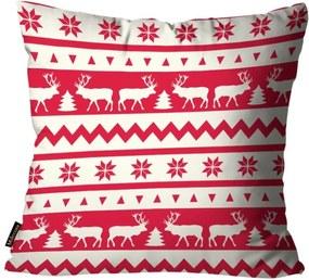 Capas para Almofada Premium Cetim Mdecore Natal Rena Vermelha 45x45cm