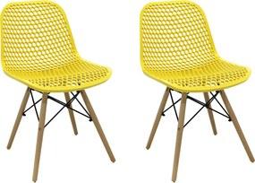 Kit 2 Cadeiras Decorativas Sala e Cozinha Haney (PP) Amarela - Gran Belo