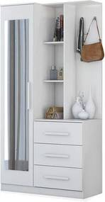 Armário Leon 01 porta com espelho , 03 gavetas , 06 prateleiras, Padrao - 03 - branco