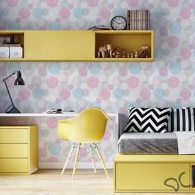 Papel de parede adesivo branco rosa azul e cinza