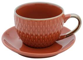 Jogo De 4 Xícaras Para Café Porcelana Drops Com Pires Laranja 90ml 27612 Bon Gourmet