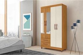 Guarda-roupa Ambar 4 Portas C/ Espelho e 2 Gavetas Externas Carvalho Grife/Off White Albatroz