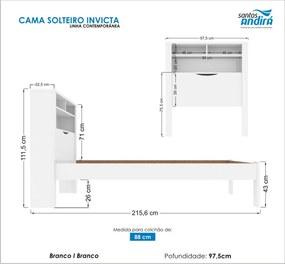 Cama Solteiro Invicta C/Baú 225666 Branca Santos Andirá