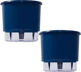 2 Vaso Raiz Auto Irrigável Azul Escuro 16x14cm Autoirrigável