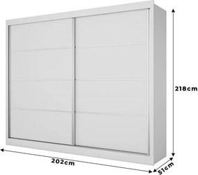 Guarda-roupa Vera (L: 202cm) C/ 2 Portas de Correr 100% Mdf Branco