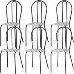 Kit 06 Cadeiras Tubular Cromo Preto 004 Assento Capitone