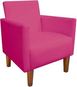 Poltrona Decorativa Compacta Jade Corino Pink Com Pés Castanho - D'Rossi