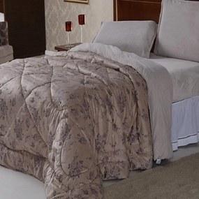 Edredom Queen Flannel Plush Bege Floral