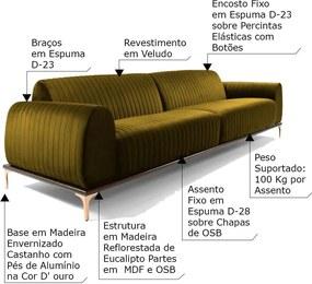 Sofá 5 Lugares Sala de Estar Base de Madeira Euro 300 cm Veludo Mostarda - Gran Belo