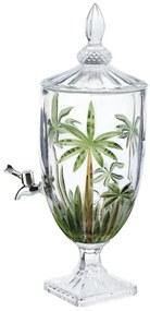 Suqueira De Cristal Ecológico Com Pé E Tampa Palm Tree Handpaint 4 Litros 27578 Wolff