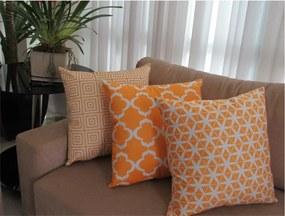 3 Capas para Almofadas Confort Veludo Geométrico Amarelo 50x50cm