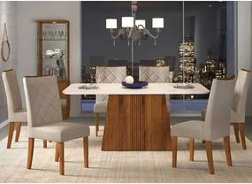 Mesa de Jantar Paris Canto Curvo 170cm Rústico Terrara Off White + 6 Cadeiras Sara Linho Claro