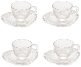 Jogo Xícaras Para Café 4 Peças Cristal Com Pires Coração Pearl 85ml 28383 Wolff