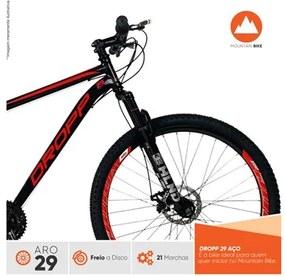 Bicicleta Aro 29 Quadro 17 Aço 21 Marchas Suspensão Freio a Disco Mecânico Preto/Vermelho - Dropp