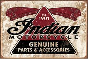 Placa Decorativa Indian Motorcycle Média em Metal - 30x20 cm