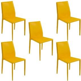 Kit 5 Cadeiras Decorativas Sala e Cozinha Karma PVC Amarela - Gran Belo
