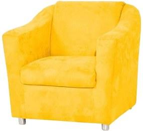 Poltrona Decorativa Tilla Pés Cromado Suede Amarela - DS Móveis