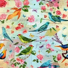 Papel De Parede Adesivo Pássaros Retrô (0,58m x 2,50m)