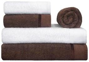 Toalha de Banho 100% Algodão Penteado jogo com 2 Banhão 2 Rosto e 1 Piso Marrom e Branca