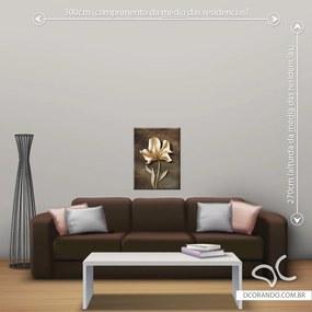 Quadro Flor e Abstrato - Pequeno 65cm x 49cm, Tela Canvas