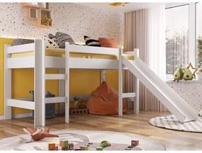 Cama Infantil Elevada com Escorregador Playground Branco