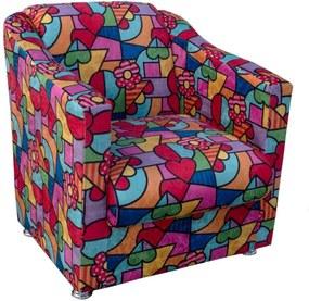 Poltrona Decorativa Tilla RecepçÁo Estampado Colorido D15 - D'Rossi