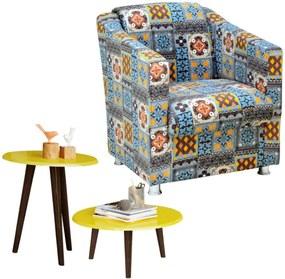 Poltrona Decorativa com Mesa de Centro e Lateral Lymdecor Laura Azul