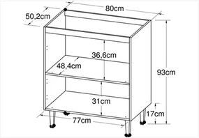 Balcão Alto sem tampo com 01 porta Basculante 80 cm CZ611 Branco Rústico - Art In Móveis