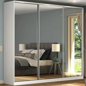 Guarda-Roupa Casal 3 Portas Correr Espelho 100% Mdf Rc3002 Branco - Nova Mobile