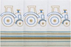 Toalha de Boca Transporte Trator Azul 3 Peças