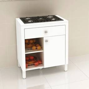 Balcão de Cozinha para Cooktop 1 Porta 1 Gaveta 2 Cestos Aramados Tecno Mobili BL3303