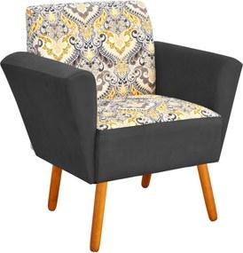 Poltrona Decorativa D'Rossi Dora Estampado D77 com Suede Grafite