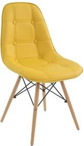 Cadeira Decorativa Sala e Escritório Cadenna (PU) Amarela - Gran Belo