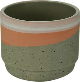 Cachepot Cerâmica Rose Stripe Cinza 10,5X10,5X8,5Cm