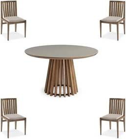 Conjunto Mesa Tampo Off White + Cadeiras Brisa Encosto Ripado - 60479 Sun House