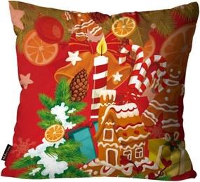 Almofada Premium Cetim Mdecore Natal Doces de Natal Vermelha 45x45cm