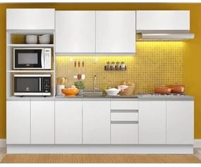 Cozinha Completa Madesa Viena 10 Portas 3 Gavetas (Sem Tampo e Pia) Branco Cor:Branco