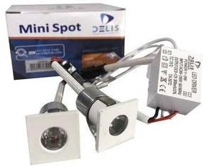 Mini Spot de Embutir Quadrado para Móvel 1W 3000K Branco Embalagem com 2 Unidades - Delis - DS4013