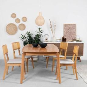Conjunto Mesa Lala 180x100cm + 4 Cadeiras Lala Linho Bege