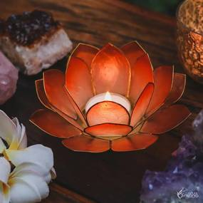 Porta-vela Flor de Lótus Madrepérola