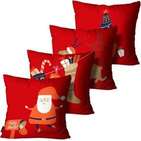 Kit 4 Almofadas Mdecore Natal Papai Noel Vermelha45x45cm