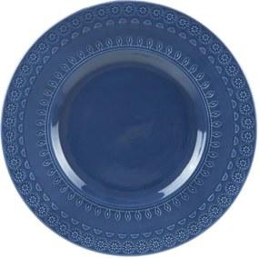 Jogo Prato Fundo Porcelana 6 Peças Grace Azul 22cm 17561 Wolff