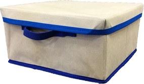 Caixa Organizadora azul com tampa e alça 28x15x28cm Organibox bege/azul