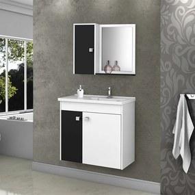 Conjunto Banheiro Barmo Suspenso C/ Cuba E Espelho Branco / Preto