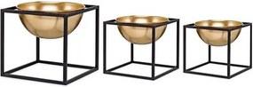 Kit 3 Vasos de Metal Dourado com Suporte 9407 Mart