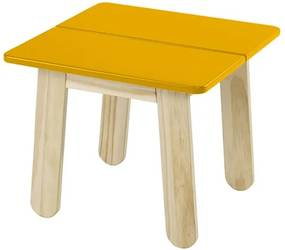 Mesa Lateral Leman em Madeira Maciça - Taeda/Amarelo