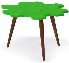 Mesa de Centro Colméia com Tampo Verde Claro Laqueado e Estrutura Madeira Maciça