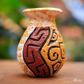 "Vaso de Cerâmica ""Rupestre"" Colorida"